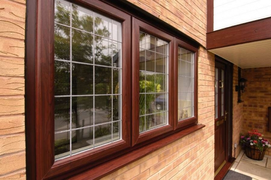 Rosewood Window with lead design